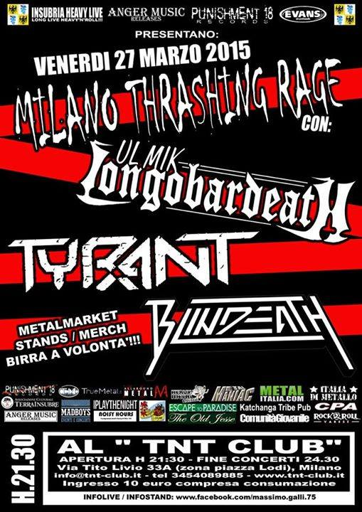MILANO THRASHING RAGE: il bill dell'evento
