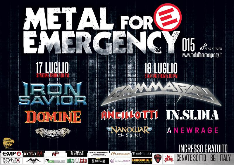 METAL FOR EMERGENCY 2015: il Runing Order dell'edizione 2015