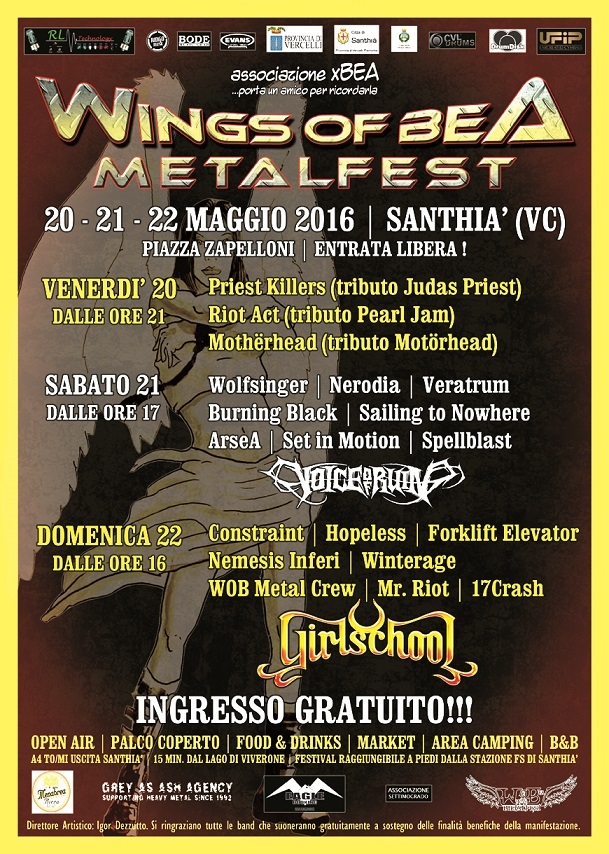 WINGS OF BEA METALFEST 2016: line-up definitiva, dettagli e orari