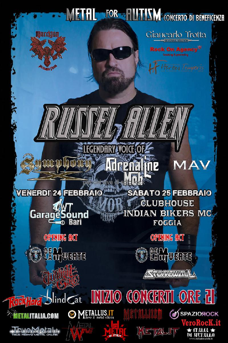 METAL FOR AUTISM: concerti di beneficenza con Russel Allen