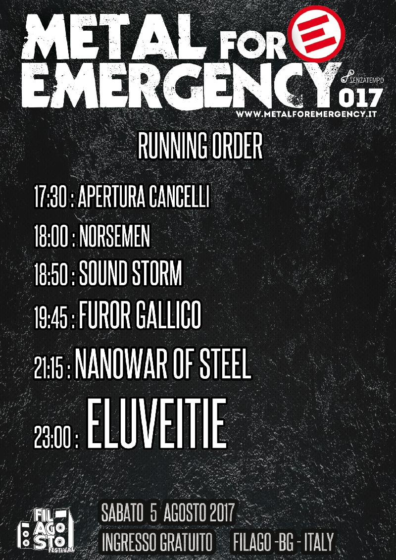 METAL FOR EMERGENCY: running order e informazioni