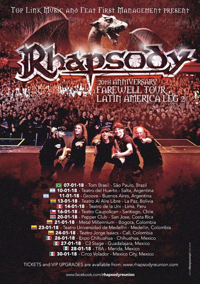 "RHAPSODY: annunciano la seconda parte del ""Farewell Tour"" in America Latina"