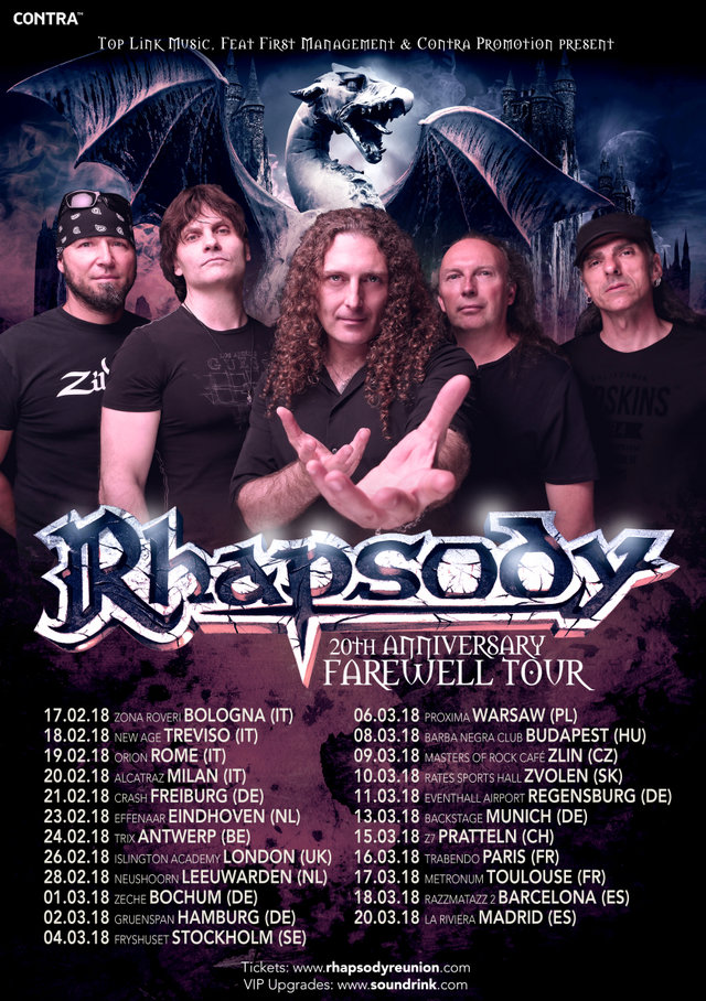"RHAPSODY: annunciano il ""20th Anniversary Farewell EUROPE Tour"""