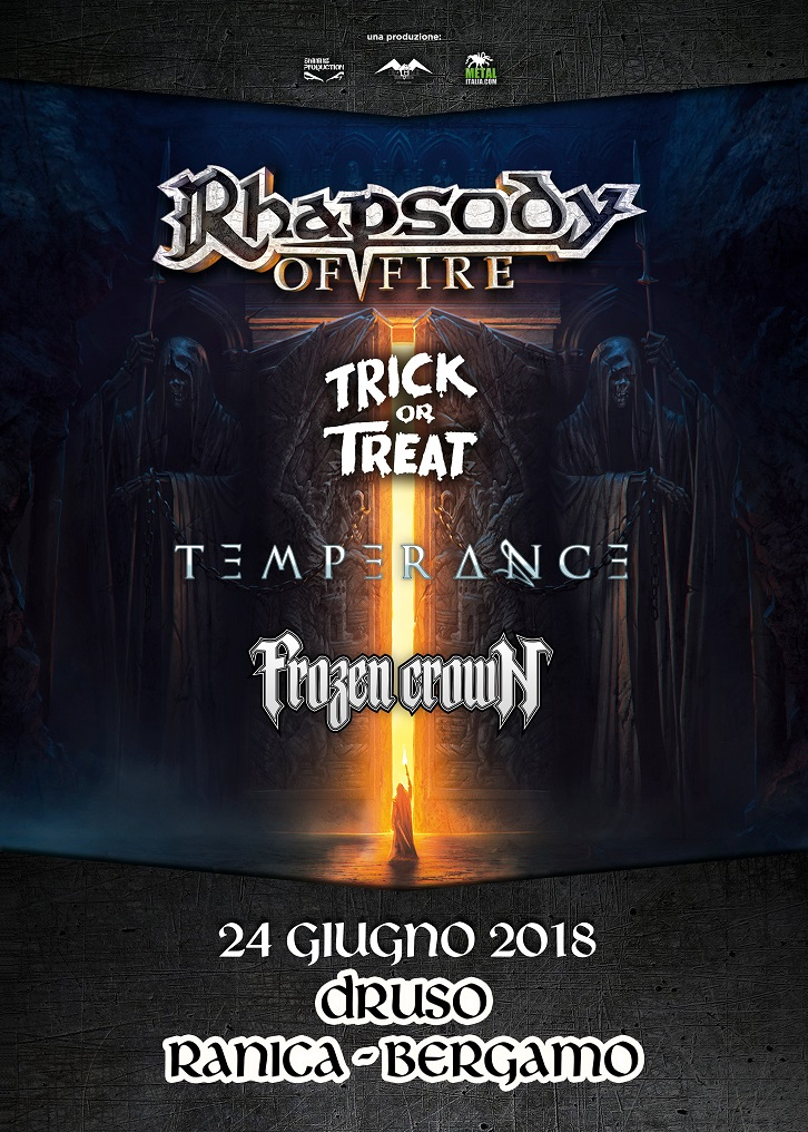 RHAPSODY OF FIRE, TRICK OR TREAT, TEMPERANCE, FROZEN CROWN: una data al Druso di Bergamo