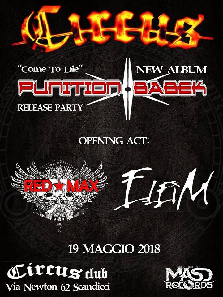 "PUNITION BABEK: il release party del nuovo ""Come To Die"""