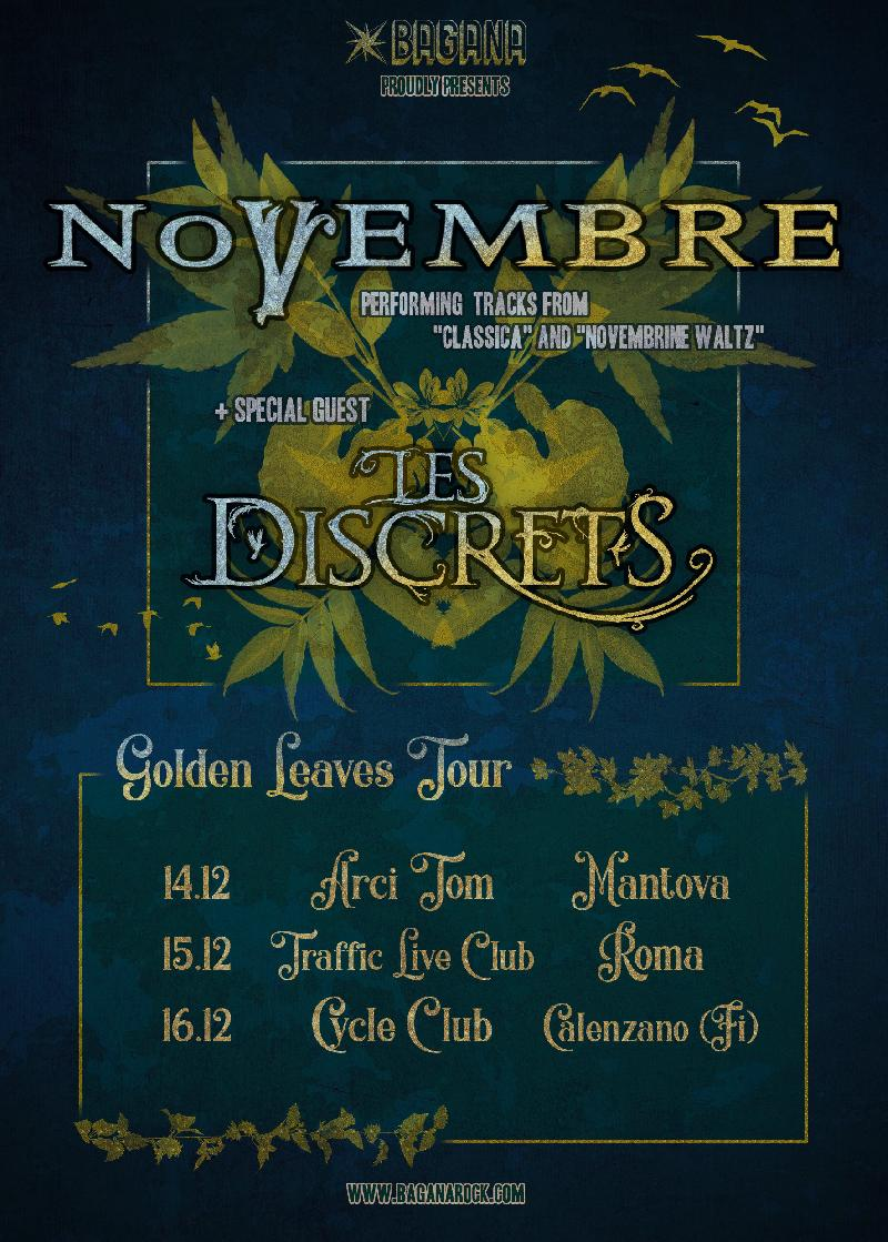 NOVEMBRE: ''Golden Leaves Tour'' con i francesi Les Discrets