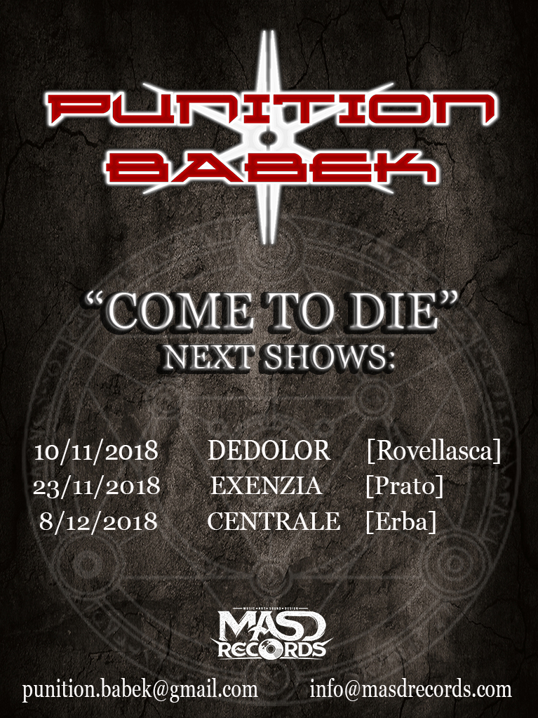 PUNITION BABEK: tre nuove date live