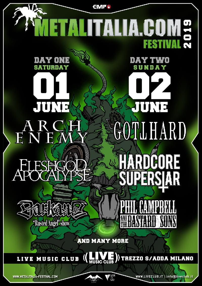 METALITALIA.COM FESTIVAL 2019: Day 1 con ARCH ENEMY, FLESHGOD APOCALYPSE e DARKANE - Day 2 con GOTTHARD, HARDCORE SUPERSTAR e PHIL CAMPBELL