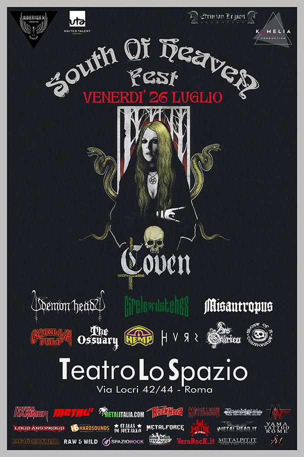 SOUTH OF HEAVEN FEST: i dettagli dell'evento con headliner gli americani COVEN