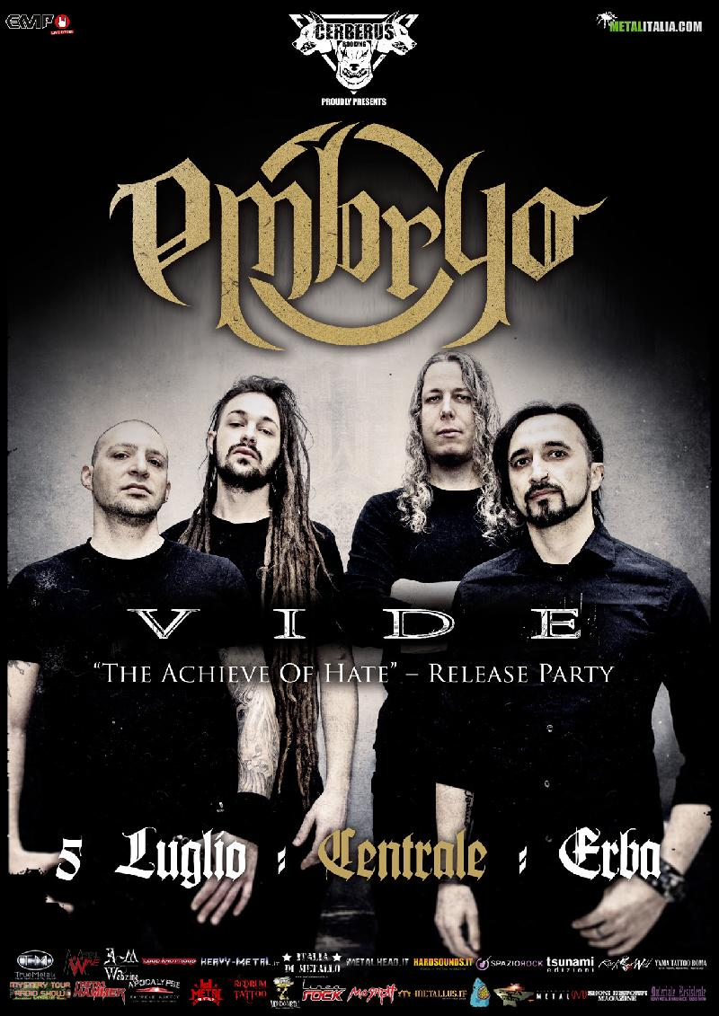 EMBRYO / VIDE: una data al Centrale di Erba e release party per ''The Achieve Of Hate''