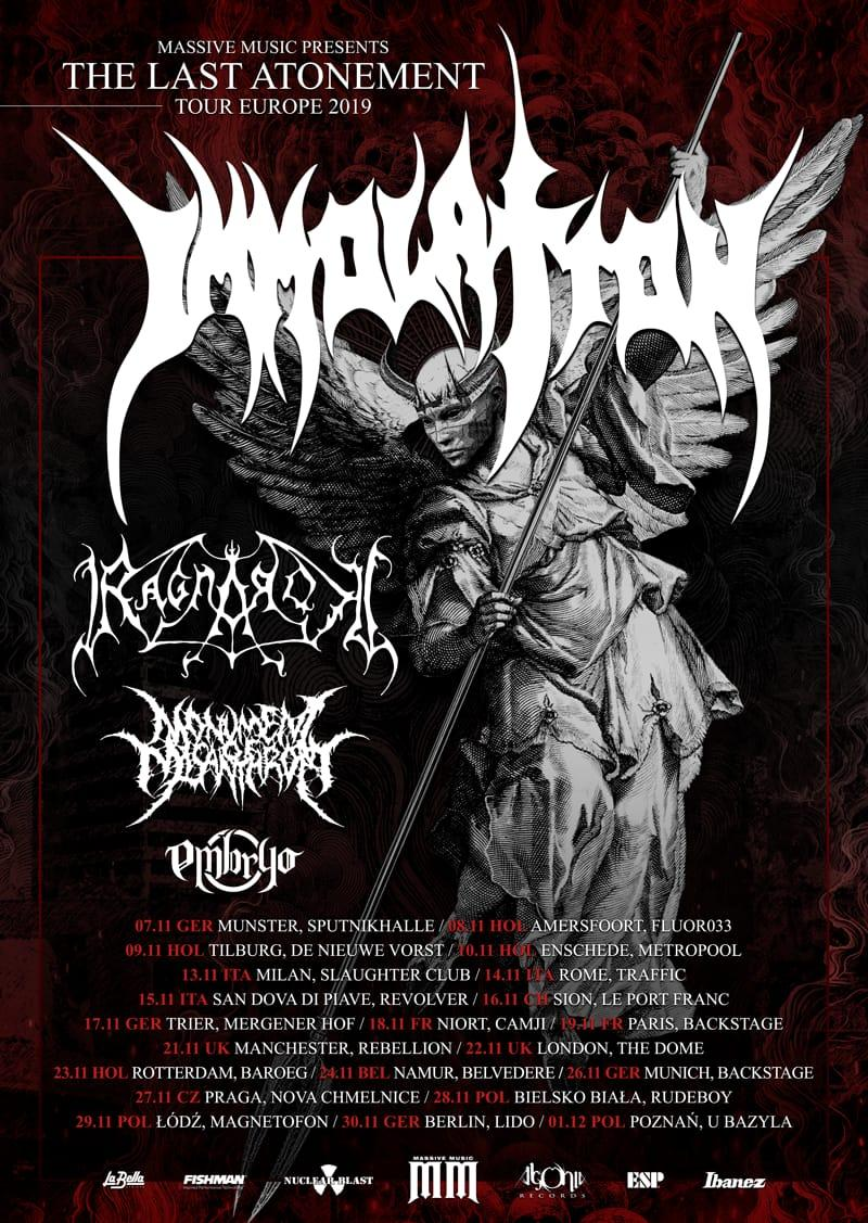 EMBRYO: in tour con IMMOLATION e RAGNAROK a Novembre