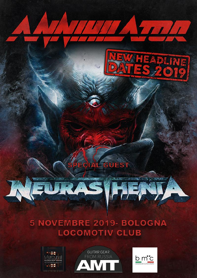 NEURASTHENIA: band di supporto per ANNIHILATOR a Bologna
