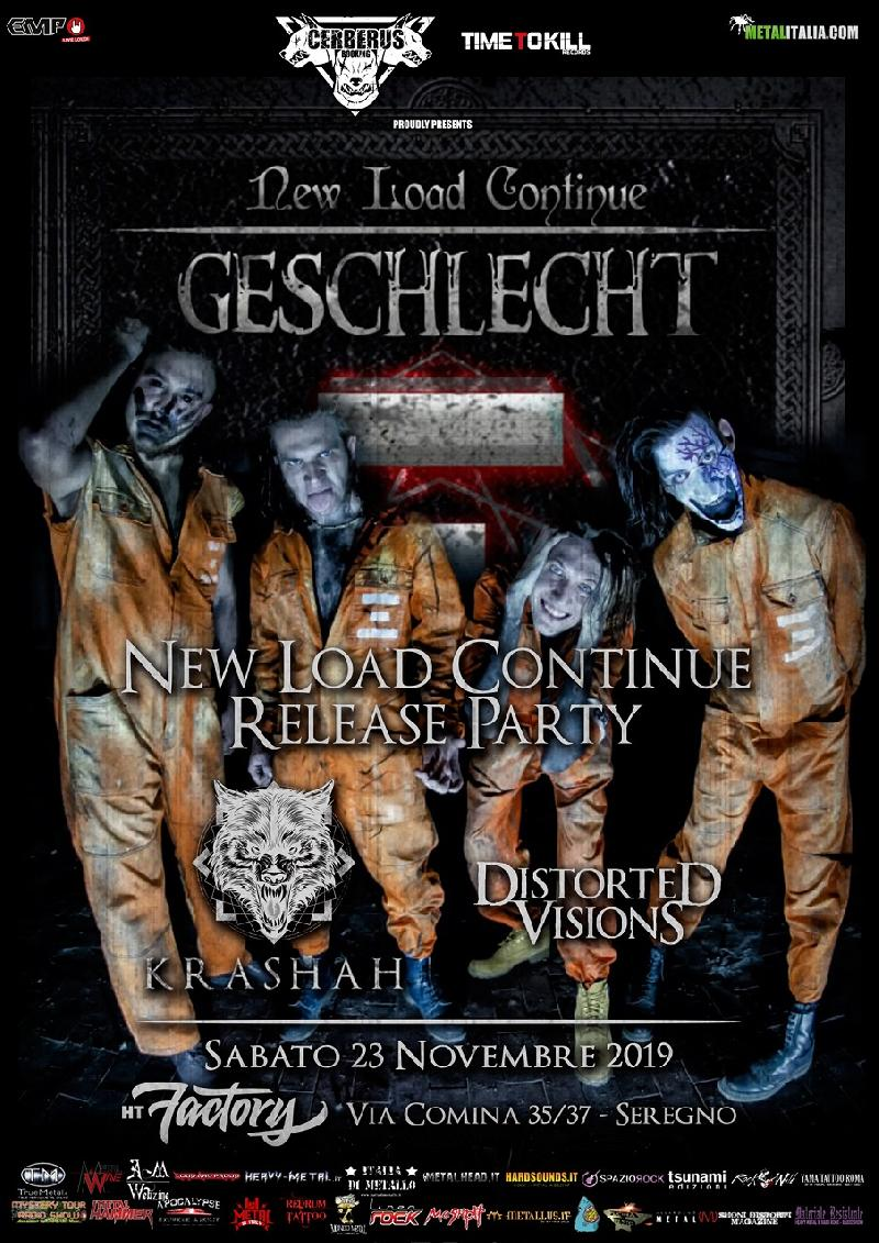 "GESCHLECHT: il release party di ""New Load Continue"" con KRASHAH  e DISTORTED VISIONS"