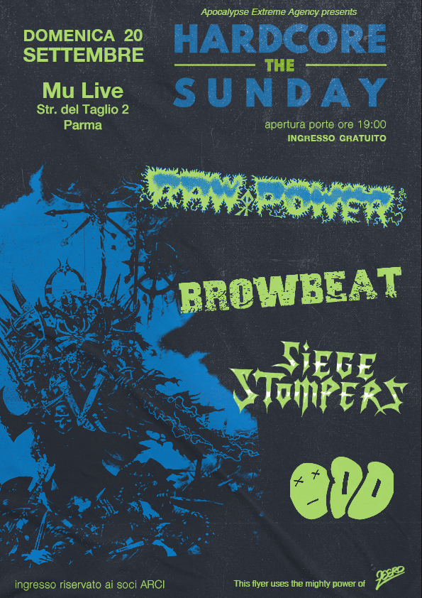 HARDCORE THE SUNDAY FEST: con Raw Power, Browbeat, Siege Stompers e Odd