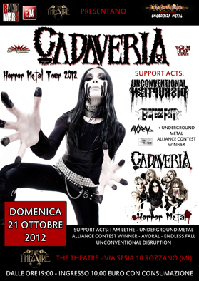 "CADAVERIA: le date del ""Horror Metal Tour"""
