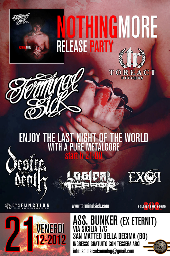 "TERMINAL SICK: teaser video, tracklist e release party di ""Nothing More"""