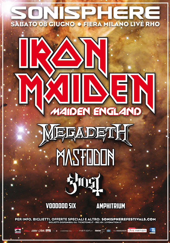 SONISPHERE 2013: oltre ad Iron Maiden, svelate le altre bands