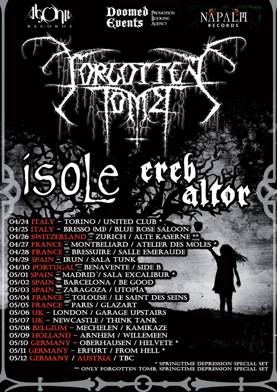 FORGOTTEN TOMB: nuovo tour europeo e due date in Italia