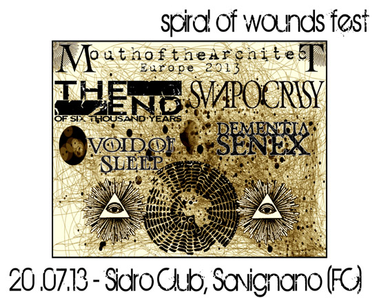SPIRAL OF WOUNDS FEST: cambio location ed annuncio headliner