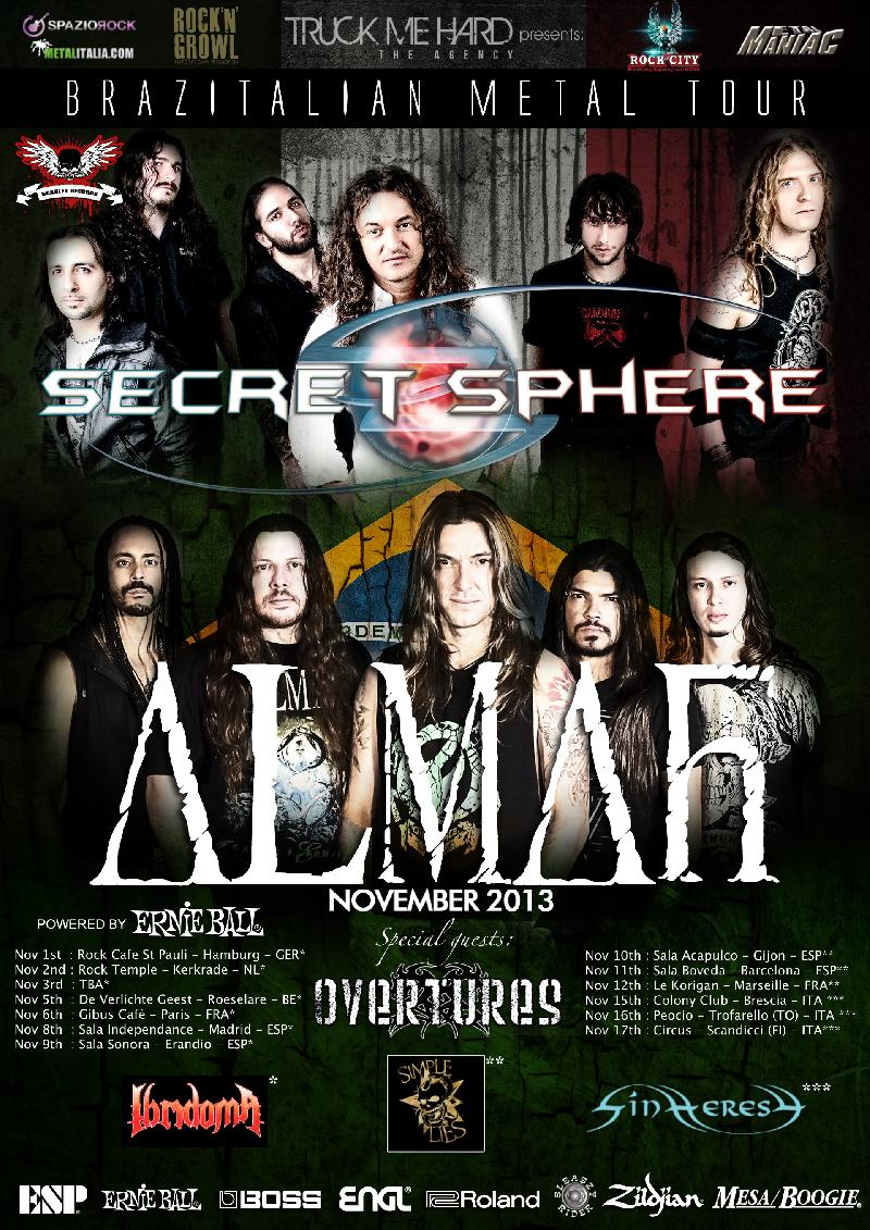 OVERTURES: in tour con ALMAH e SECRET SPHERE