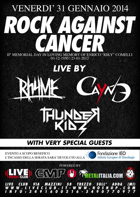ROCK AGAINST CANCER: serata di beneficenza per la lotta contro il cancro