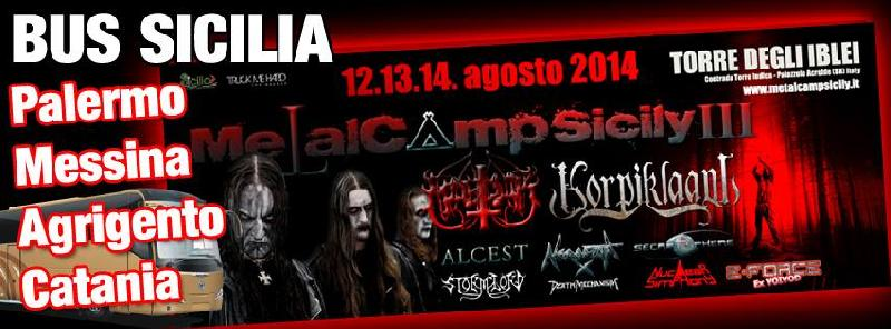 METAL CAMP SICILY: bus da Palermo, Messina, Agrigento e Catania