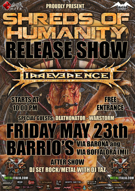 "IRREVERENCE: release show di ""Shreds of Humanity"""
