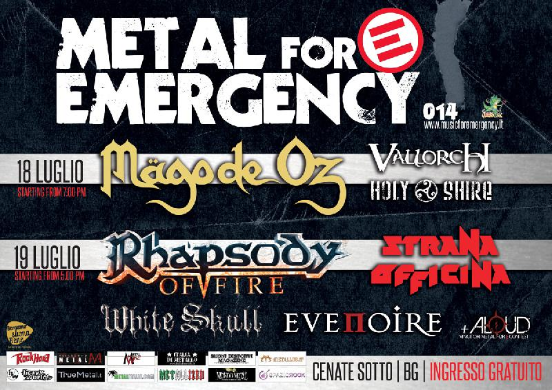 METAL FOR EMERGENCY 2014: running order DAY ONE