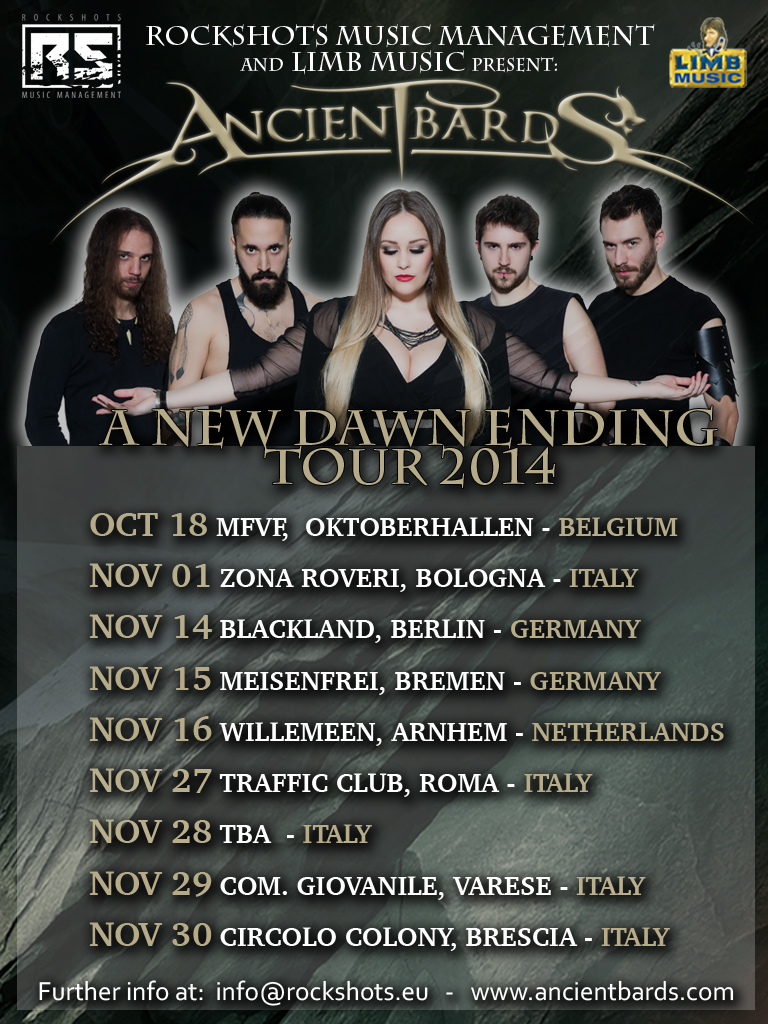 "ANCIENT BARDS: annunciate le prime date del ""A New Dawn Ending Tour 2014"""